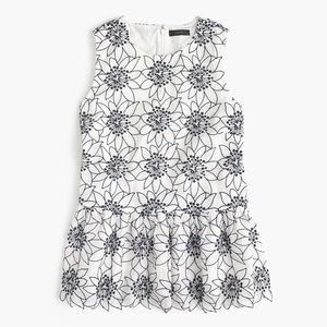 •J Crew• Embroidered Floral Sleeveless Top